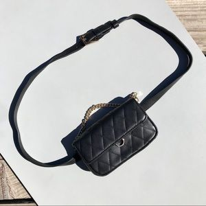 F21 Black Quilted Waist Belt Purse Handbag *C10